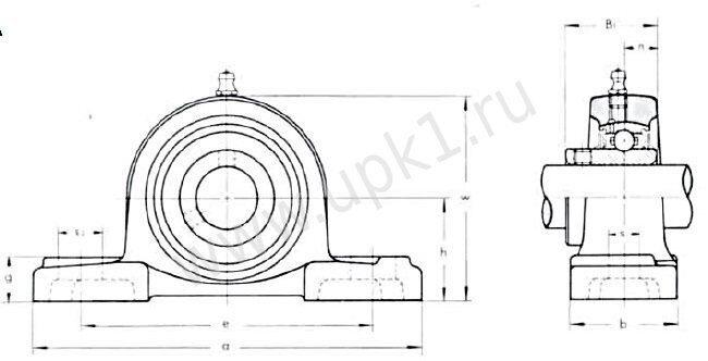 подшипниковый узел UCP300 эскиз
