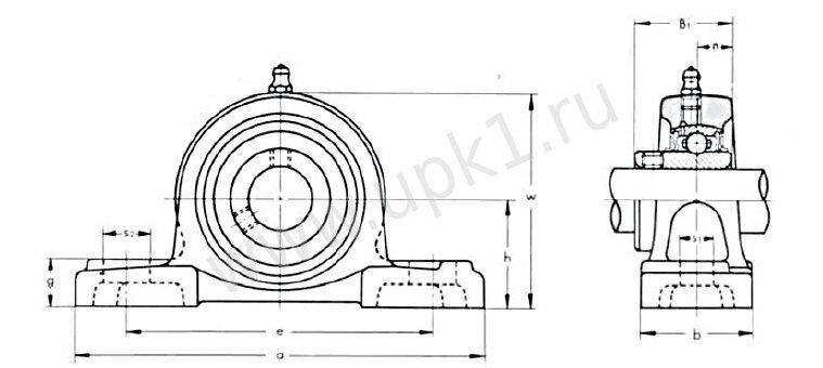 подшипниковый узел UCPX00 эскиз